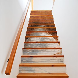 Brown Trees on Both Sides Of Path 13-Piece PVC 3D Waterproof Stair Murals