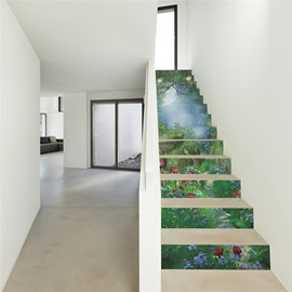 Green Forest 13-Piece PVC 3D Waterproof Stair Murals