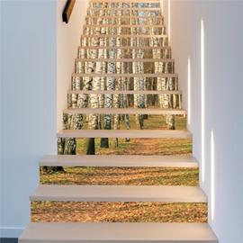 Birch Forest 13-Piece PVC 3D Waterproof Stair Murals