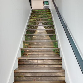 Wooden Bridge Surrounded by Green Trees 13-Piece PVC 3D Waterproof Stair Murals