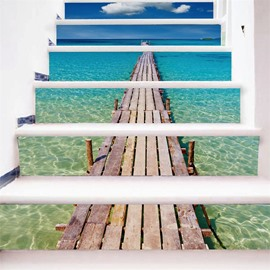 Blue Sea with A Wooden Path 6-Piece PVC 3D Waterproof Stair Murals