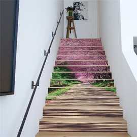 31 Cherry Trees On Both Sides Of Wooden Path 13 Piece 3D Waterproof Stair  Murals