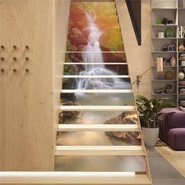Waterfall and Sunshine 13-Piece PVC 3D Waterproof Stair Murals