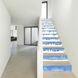 White Background Spilled by Blue Ink 13-Piece PVC 3D Waterproof Stair Murals