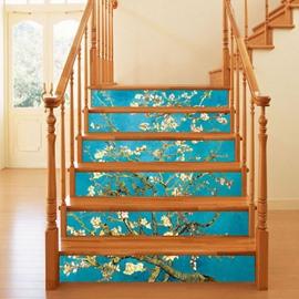 3D Floral Tree 6-Piece PVC Waterproof Eco-friendly Self-Adhesive Stair Mural