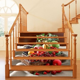 3D Fruit Printed 6-Piece PVC Waterproof Eco-friendly Self-Adhesive Stair Mural