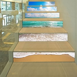 3D Beach 6-Piece PVC Waterproof Eco-friendly Self-Adhesive Stair Mural