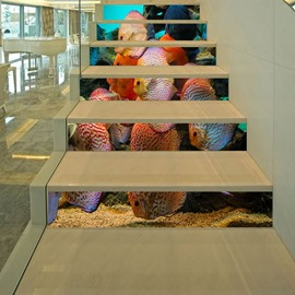 3D Fishes 6-Piece PVC Waterproof Eco-friendly Self-Adhesive Stair Mural