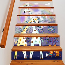 3D Giraffe and Tree 6-Piece PVC Waterproof Eco-friendly Self-Adhesive Stair Mural