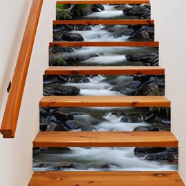 3D Rocks and Flowing Water 6-Piece PVC Waterproof Eco-friendly Self-Adhesive Stair Mural
