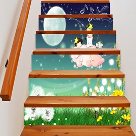 3D Cartoon Girls and Moon 6-Piece PVC Waterproof Eco-friendly Self-Adhesive Stair Mural