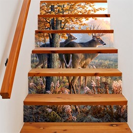 3D Deer and Tree 6-Piece PVC Waterproof Eco-friendly Self-Adhesive Stair Mural