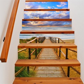 3D Blue Sky and Bridge 6-Piece PVC Waterproof Eco-friendly Self-Adhesive Stair Mural