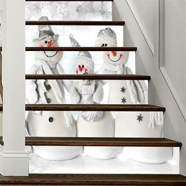 PVC Waterproof Eco-friendly 3D 6-Piece Three Christmas Snow Man Self-Adhesive Stair Mural