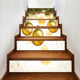 3D 6-Piece PVC Waterproof Eco-friendly Golden Christmas BellSelf-Adhesive Stair Mural