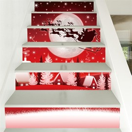 Creative Christmas Car 3D 6-Piece PVC Waterproof Eco-friendly Self-Adhesive Stair Mural