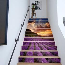Lavender Field 6/13 Piece PVC Waterproof Eco-friendly Self-Adhesive Stair Mural