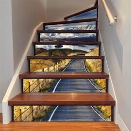 6/13 Piece PVC Waterproof Snow Mountain Road Eco-friendly Self-Adhesive Stair Mural