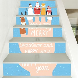 6-Piece 3D Cute Christmas PVC Waterproof Eco-friendly Self-Adhesive Stair Mural