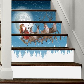 6-Piece Father Christmas With Four Elk PVC Waterproof Eco-friendly Self-Adhesive Stair Mural