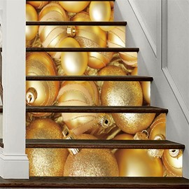 3D Golden Christmas Ball 6-Piece PVC Waterproof Eco-friendly Self-Adhesive Stair Mural
