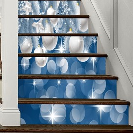 Christmas Ball 6-Piece PVC Waterproof Eco-friendly Self-Adhesive Stair Mural