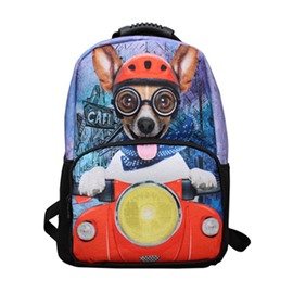 Outdoor Cute Riding Puppy Hiking and Traveling 1.15L Durable 2 Layers 3D Backpack