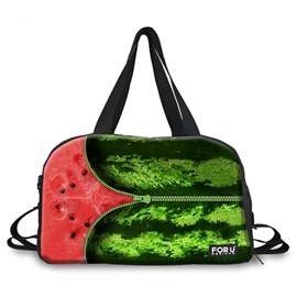 Zipper Watermelon Pattern 3D Painted Travel Bag