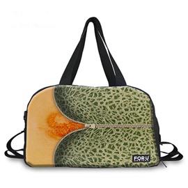 Zipper Hami Melon Pattern 3D Painted Travel Bag
