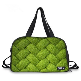 Creative Plant Grid Pattern 3D Painted Travel Bag