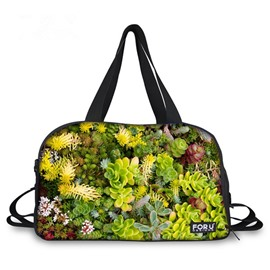 Vivid Succulent Pattern 3D Painted Travel Bag