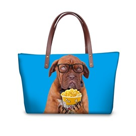 Waterproof Dog with Popcorn Animals 3D Printed Shoulder HandBags