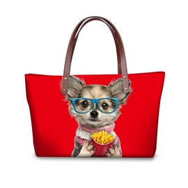 Chips and Dog Animals Waterproof 3D Printed Shoulder HandBags