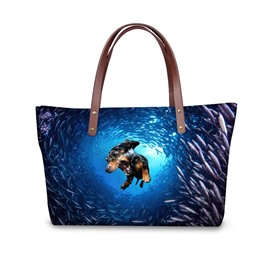 Sea World Waterproof Dog Animals 3D Printed HandBags