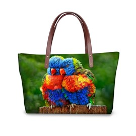 Sweetie Couple Colorful Parrot Waterproof Sturdy 3D Printed for Women Girls Shoulder HandBags