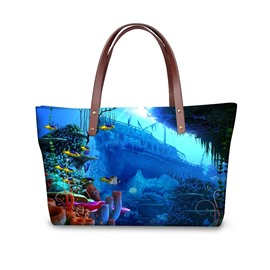 Retro Ship in the Deep Sea Like Titanic Waterproof Sturdy 3D Printed for Women Girls Shoulder HandBags