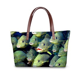 Fish Stranger Look Waterproof 3D Printed for Women Girls Shoulder HandBags