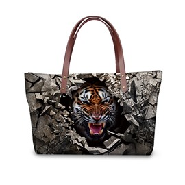Animals Tiger Sharp Tooth Waterproof Sturdy Shopping 3D Printed for Women Girls Shoulder HandBags
