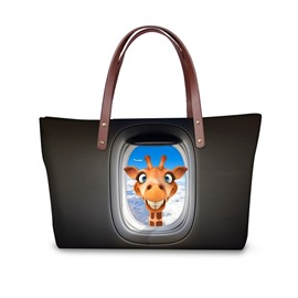 Crazy Giraffe Look at You 3D Printed for Women Girls Shoulder HandBags