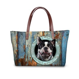 French Bulldog Black Zipper Waterproof Sturdy 3D Printed for Women Girls Shoulder HandBags