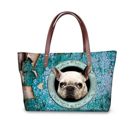 Adorable Dog Waterproof Sturdy Shopping 3D Printed for Women Girls Shoulder HandBags