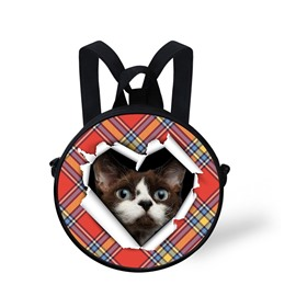 Round 3D Black Cat Pattern School Bag Shoulders Backpack