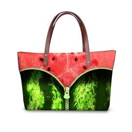 Zipper in Watermelon Waterproof Sturdy 3D Printed for Women Girls Shoulder HandBags