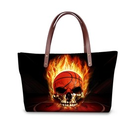 Skull Basketball Fire Waterproof Pattern Printed Shoulder HandBags