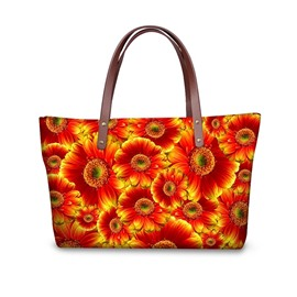 Waterproof 3D Dasiy Flower Printed Shoulder HandBags