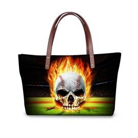 Baseball with Fire Skull Waterproof 3D Printed Shoulder Handbag