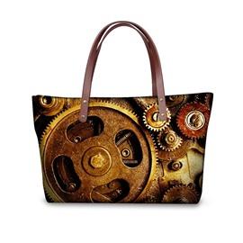 Many Gear Pattern Waterproof 3D Printed Shoulder Handbag