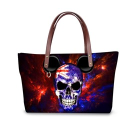 Angry Skeleton UK Flag Waterproof Sturdy 3D Printed for Women Girls Shoulder HandBags