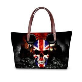 Micky UK Flag Skeleton Skull Waterproof Sturdy Black 3D Printed Shoulder HandBags