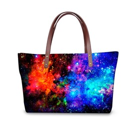 Galaxy Blue Red Color Mixed Waterproof Sturdy 3D Printed for Women Girls Shoulder HandBags